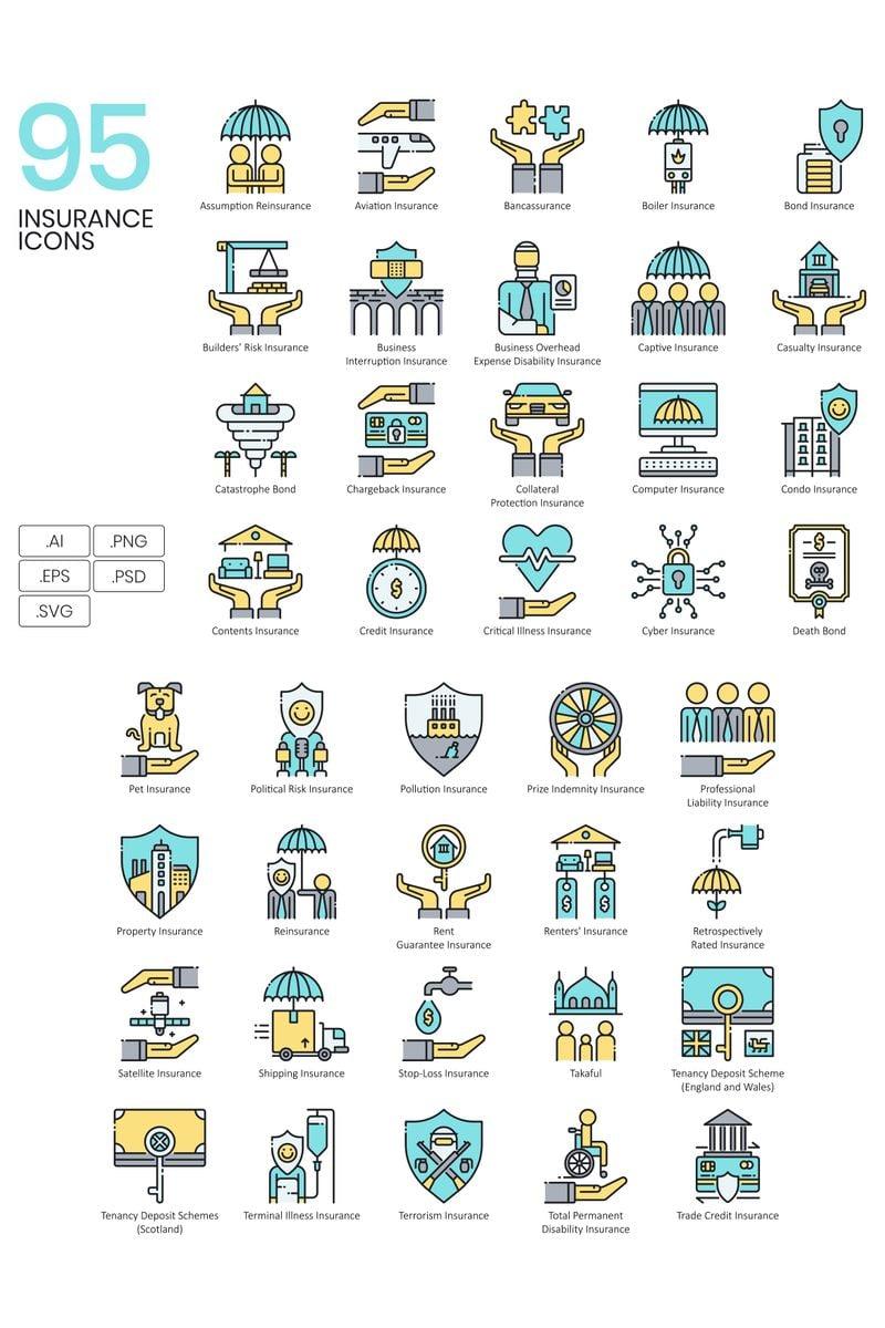 95 Insurance Icons - Aqua Series Ikon csomag sablon 89526