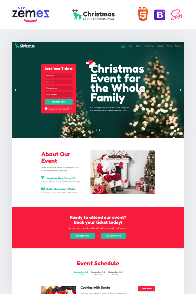 "Modello di Landing Page Responsive #89582 ""Lintense Christmas - Event Creative HTML"""
