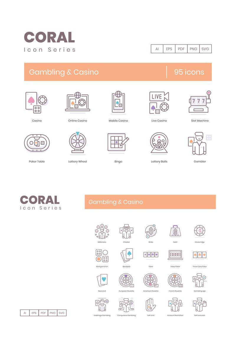 """Modello Pacchetto Icone #89534 """"95 Casino Icons - Coral Series"""""""