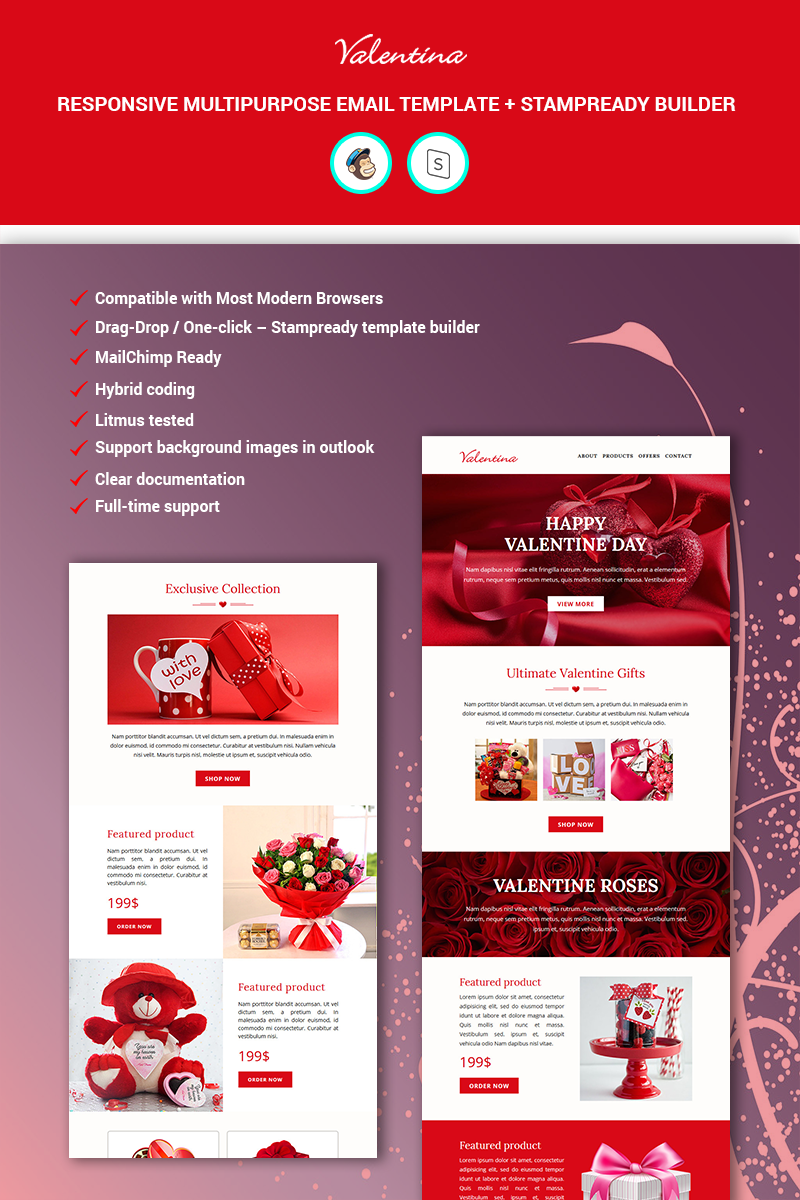 Responsivt Valentina - Multipurpose Responsive + StampReady Builder Newsletter-mall #89587