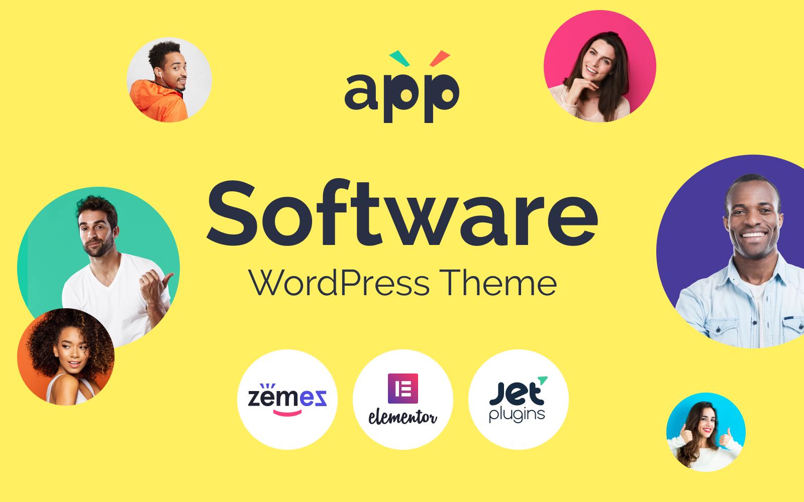 "Responzivní WordPress motiv ""App - Software Template with Elementor Builder"" #89590"