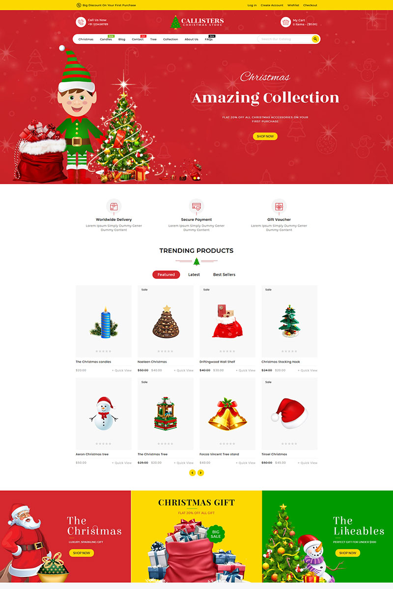 "Shopify Theme namens ""Callisters Gift Store"" #89584"