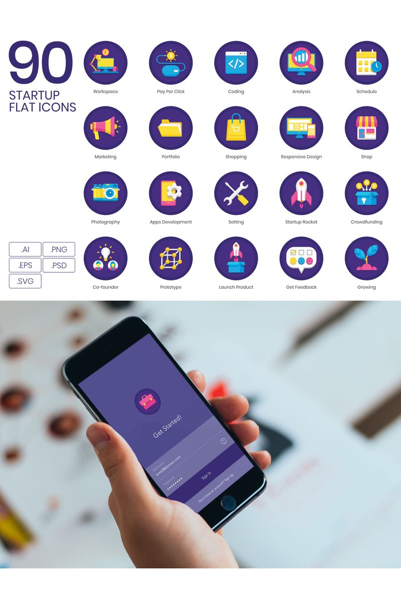 """""""90 Startup Icons - Orchid Series"""" Iconset template №89538"""