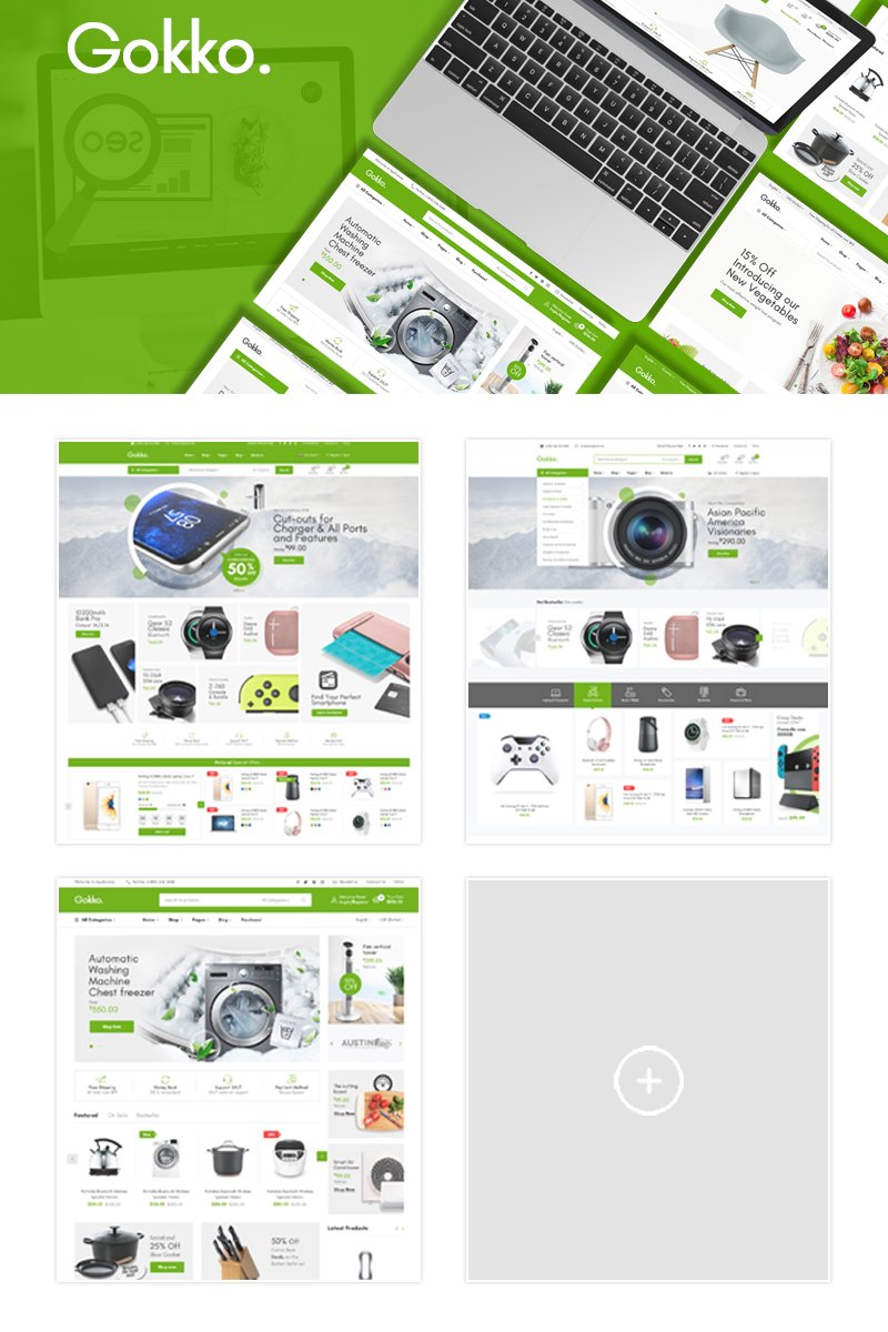 "Tema Magento ""Gokko - Fully Responsive and RTL supported"" #89589"