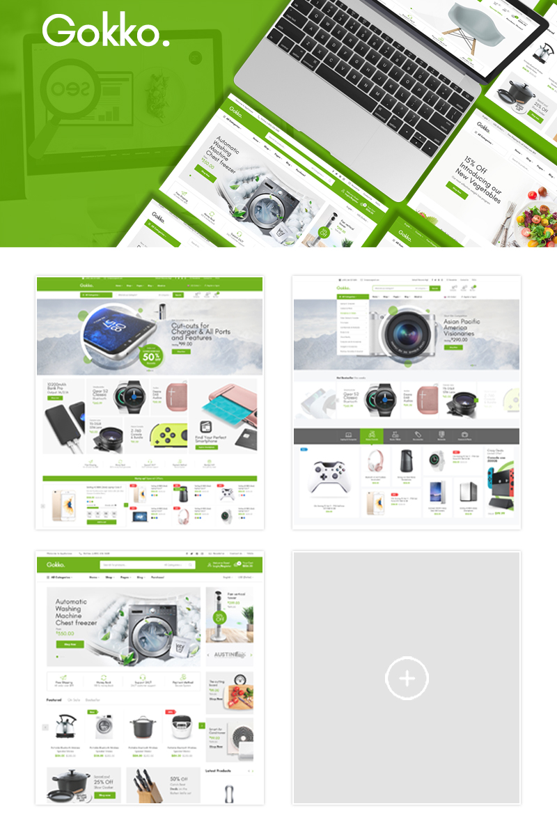 "Tema Magento Responsive #89589 ""Gokko - Fully Responsive and RTL supported"""