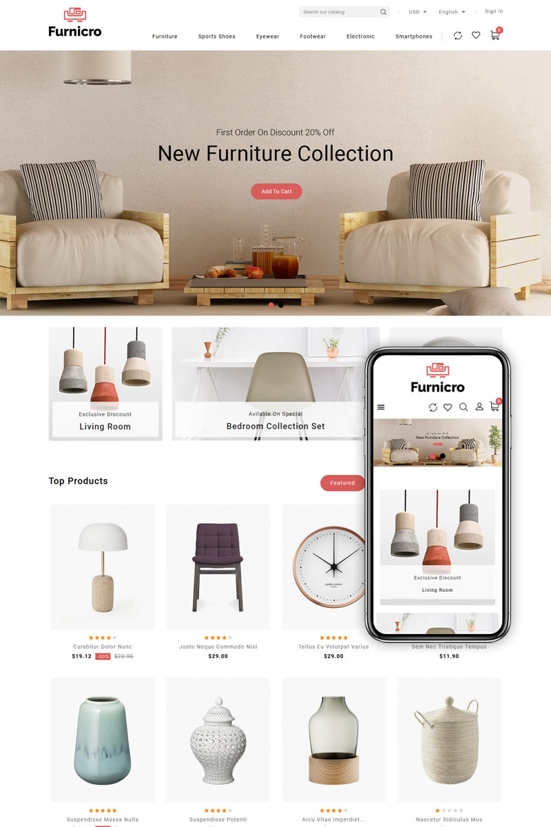 "Tema PrestaShop Responsive #89583 ""Furnicro - Furniture Shop"""