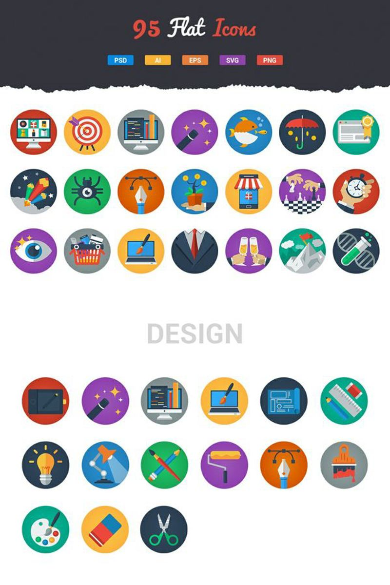 """Template Pacchetto Icone #89527 """"95 Irresistible Flat Icons"""""""