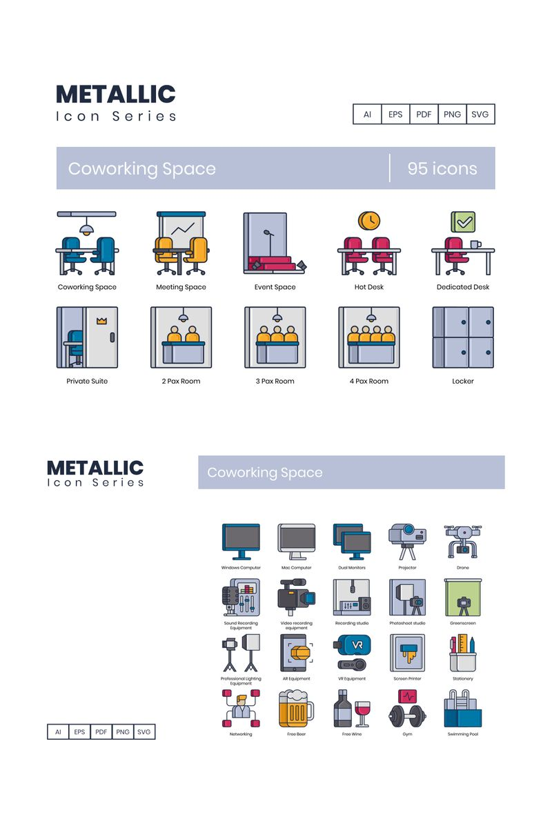 """Template Pacchetto Icone #89530 """"95 Coworking Space - Metallic Series"""""""