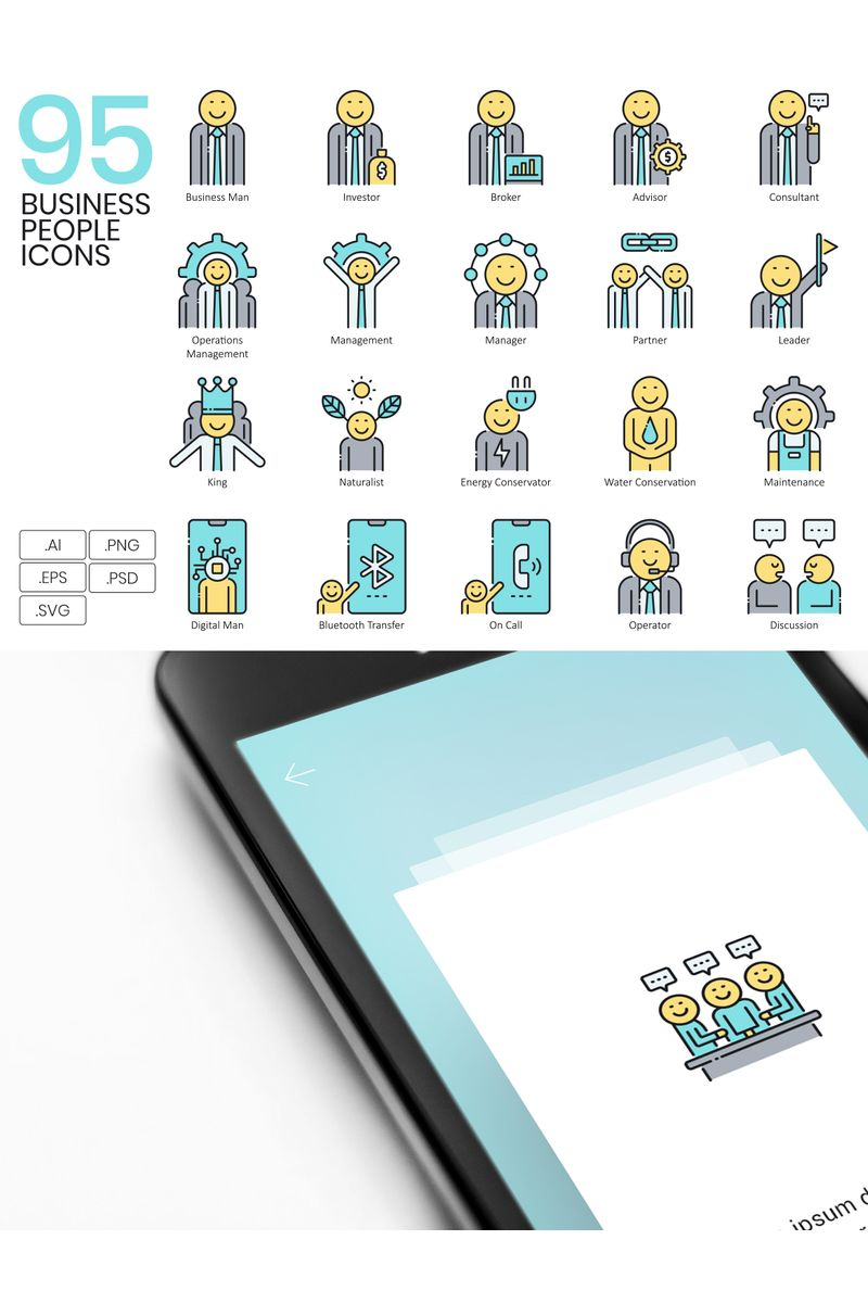 """Template Pacchetto Icone #89533 """"95 Business People Icons - Aqua Series"""""""