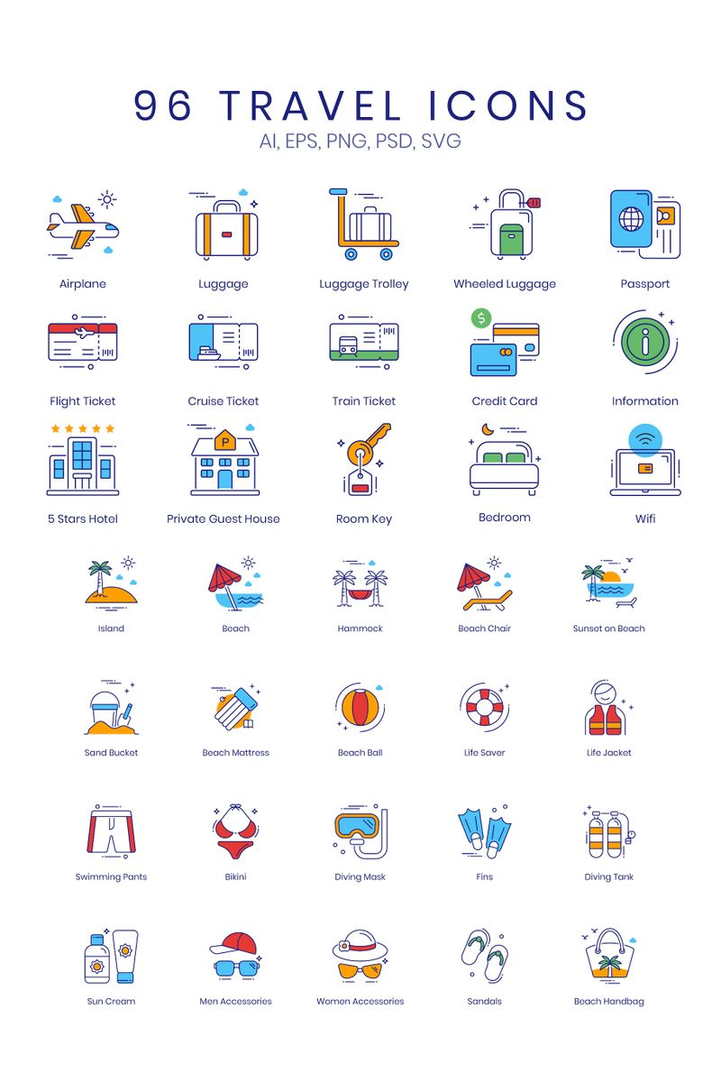 """""""96 Travel Icons - ColorPop Series"""" Iconset template №89525"""