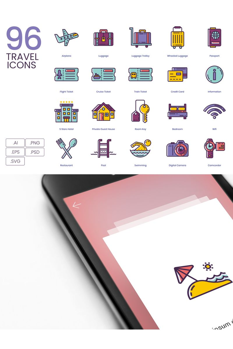 """""""96 Travel Icons - Lilac Series"""" Iconset template №89523"""