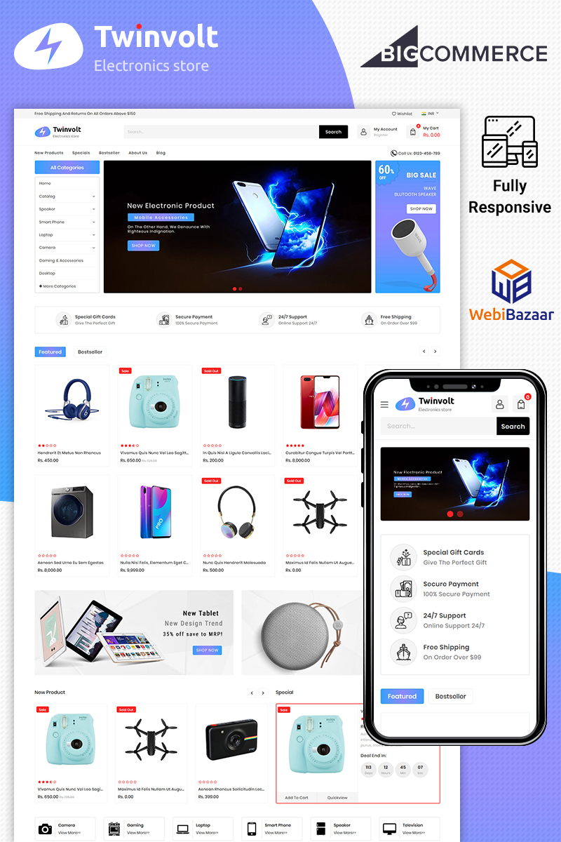 Twinvolt - Multipurpose Stencil BigCommerce Theme - screenshot