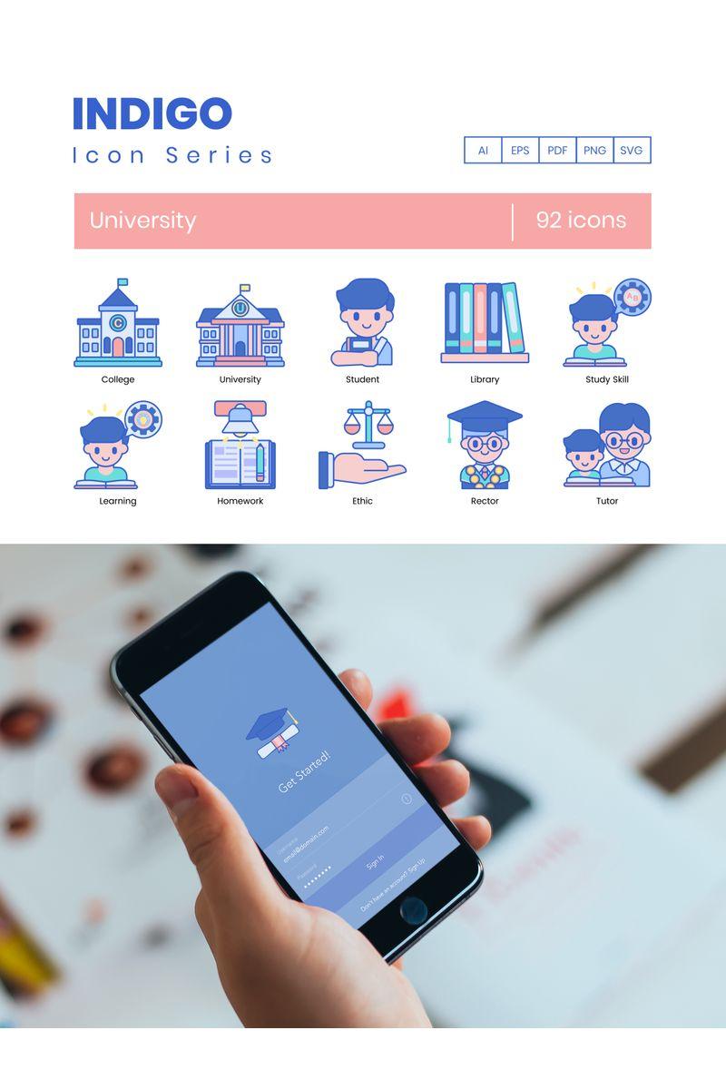 """92 University Icons - Indigo Series"" Iconset template №89536"