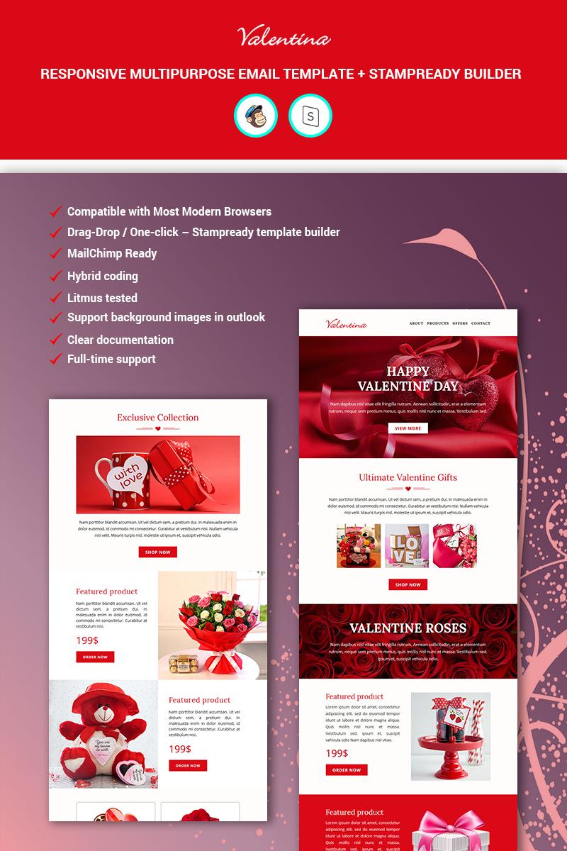 """Valentina - MailChimp + StampReady Builder"" modèle Bulletin adaptatif #89587 - screenshot"