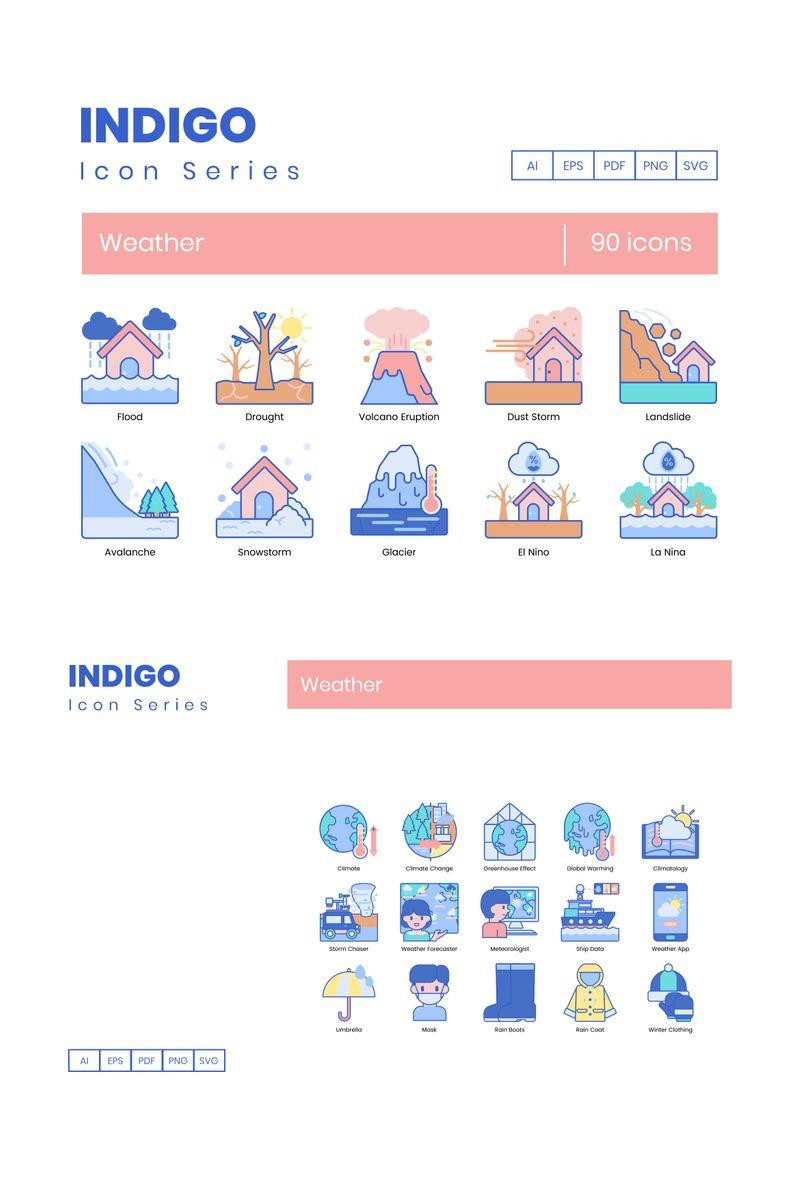 """90 Weather Icons - Indigo Series"" Iconset template №89540"
