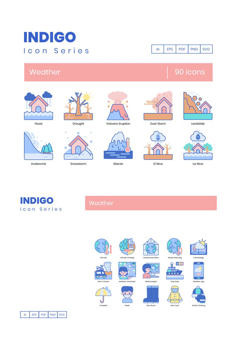 """90 Weather Icons - Indigo Series"" 图标集模板 #89540"