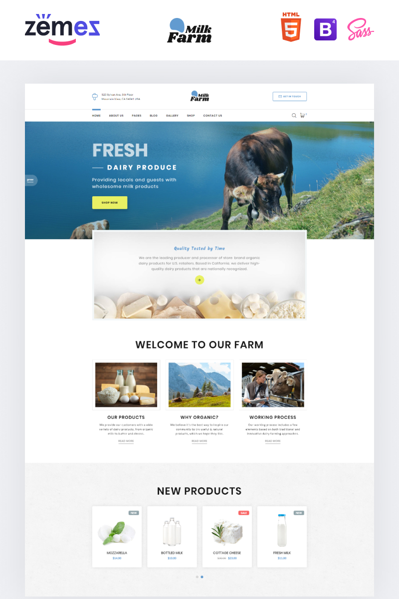 "Website Vorlage namens ""Milk Farm - Dairy Farm"" #89561"