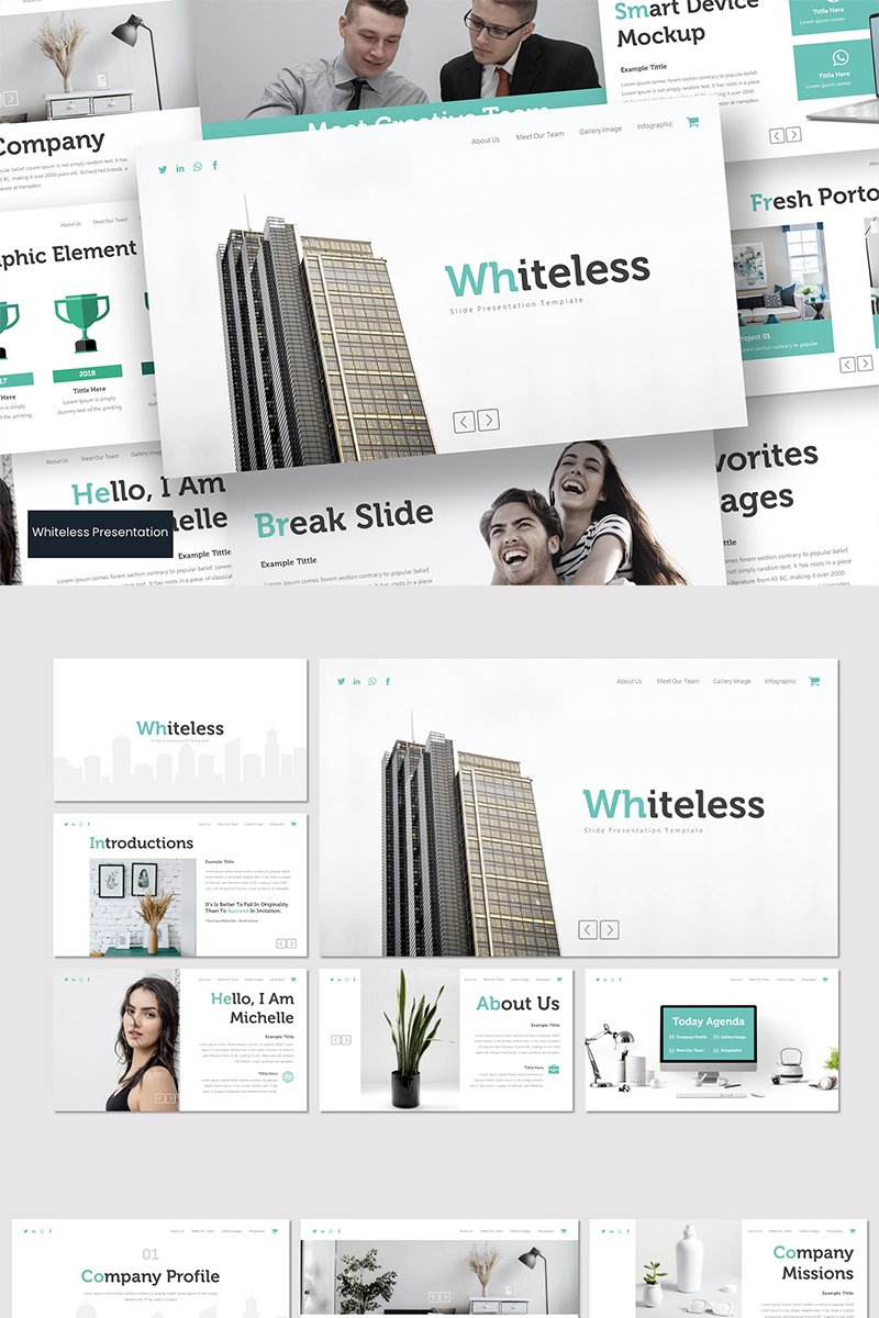 Whiteless PowerPoint sablon 89598