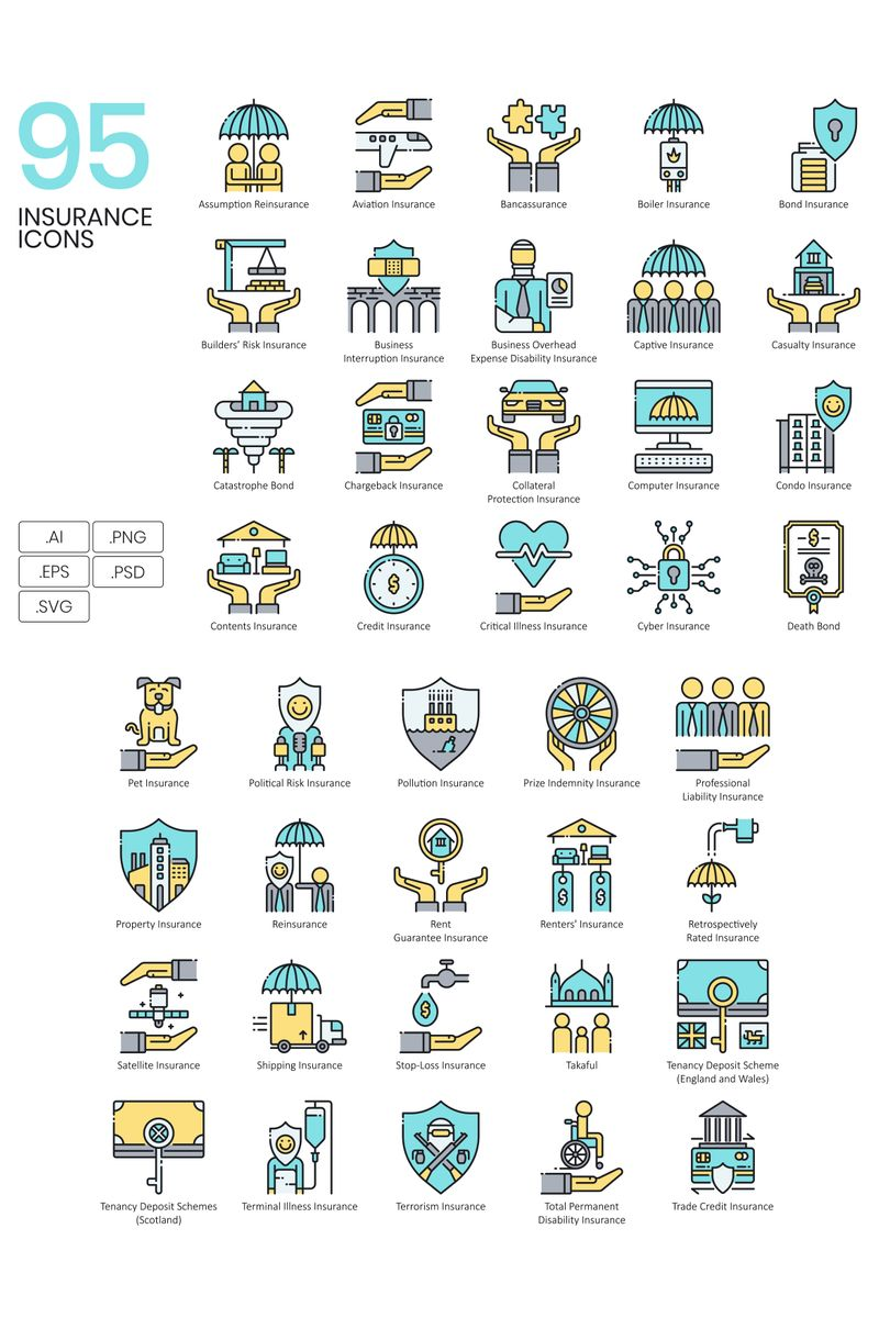 Zestaw Ikon 95 Insurance Icons - Aqua Series #89526