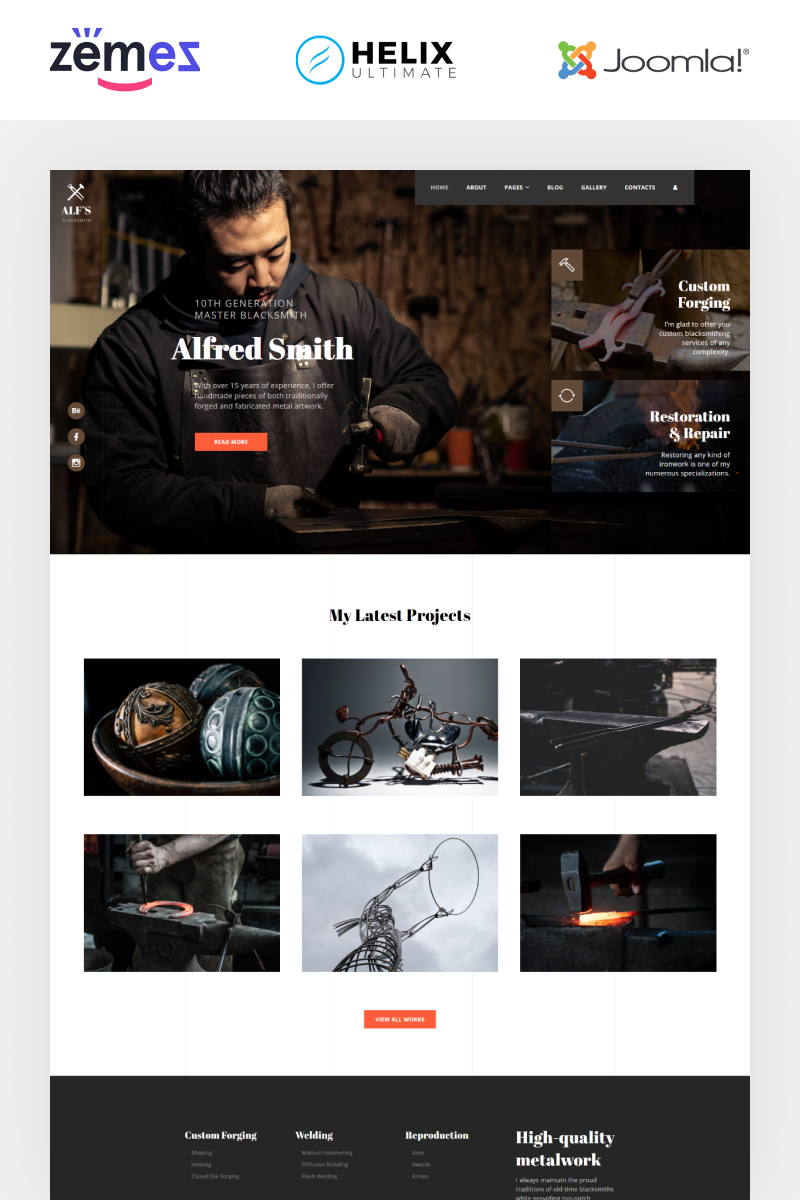 """ALF's - Personal Page Multipage Creative"" 响应式Joomla模板 #89630"