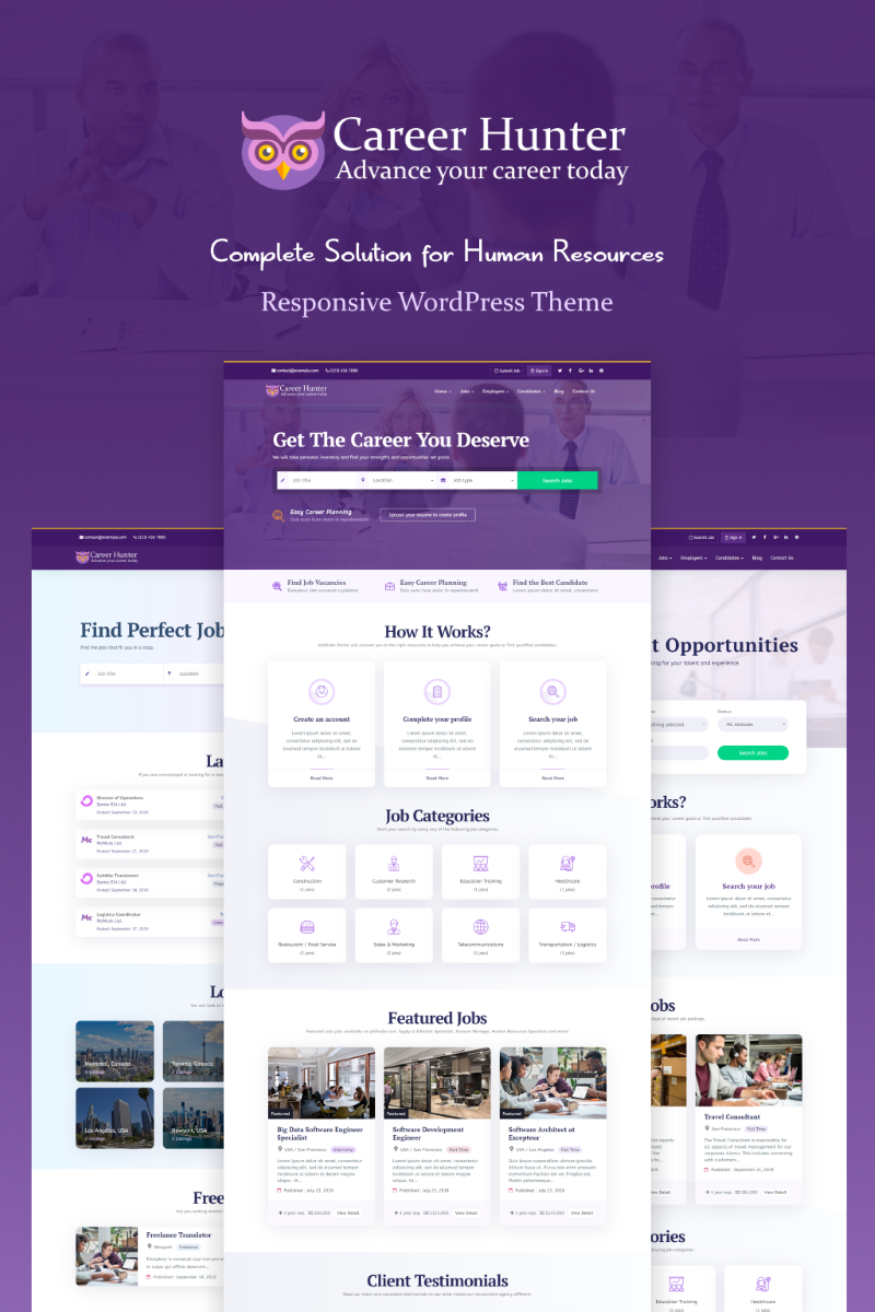 Bootstrap CareerHunter - Complete Job Board WordPress sablon 89681