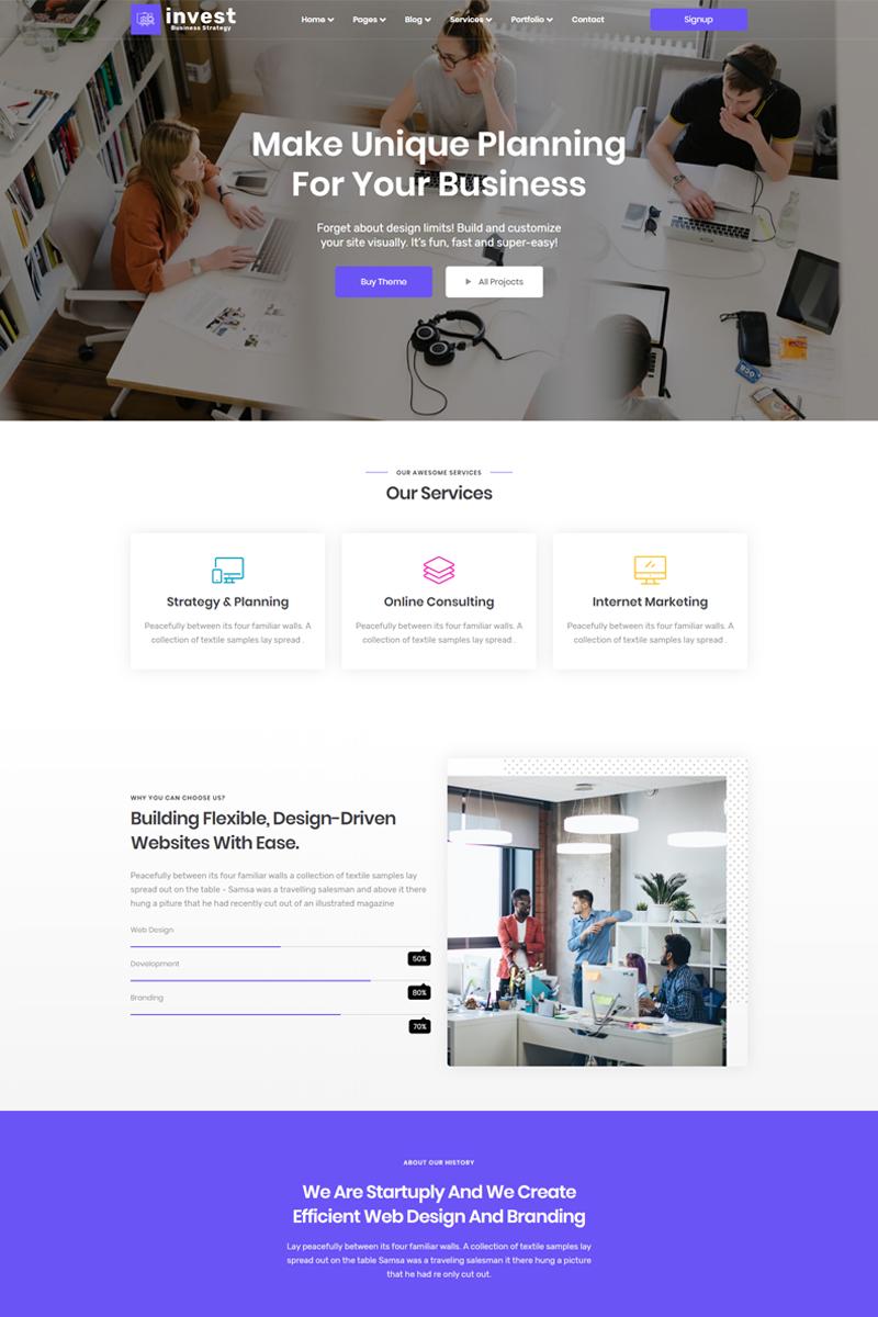 Bootstrap Invest- Business & Digital Agency Açılış Sayfası #89684