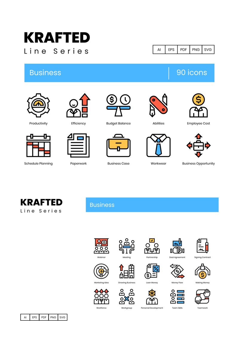 """""""90 Business Icons - Krafted Series"""" Iconset template №89621"""