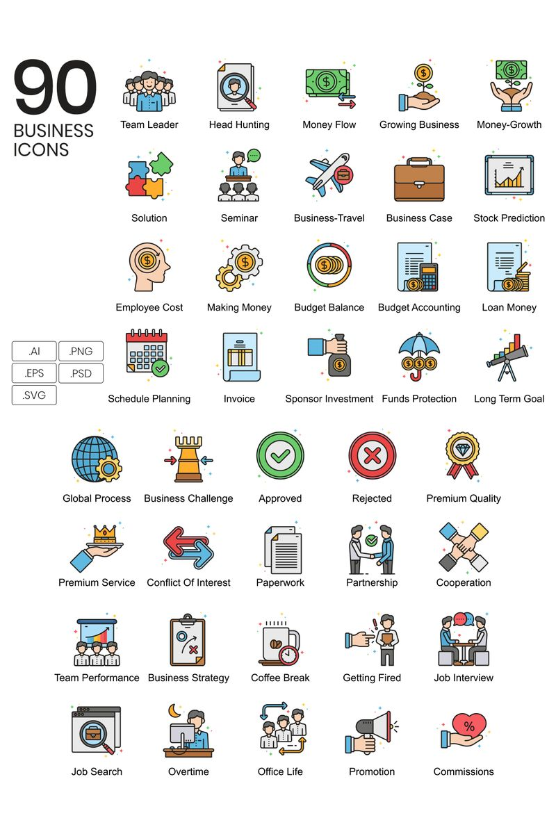 """""""90 Business Icons - Vivid Series"""" Iconset template №89622"""