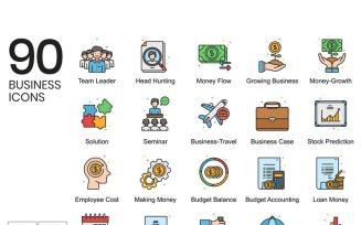 90 Business Icons - Vivid Series Set