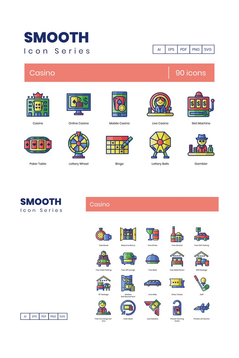 """90 Casino Icons - Smooth Series"" 图标集模板 #89618"