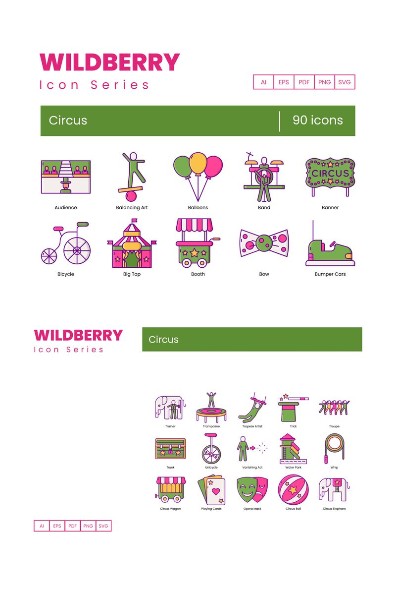 """90 Circus Icons - Wildberry Series"" 图标集模板 #89616"