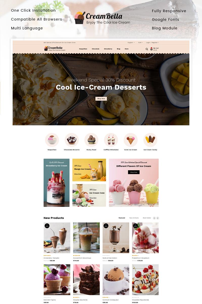 """CreamBella - Ice Cream Shop"" Responsive PrestaShop Thema №89682"