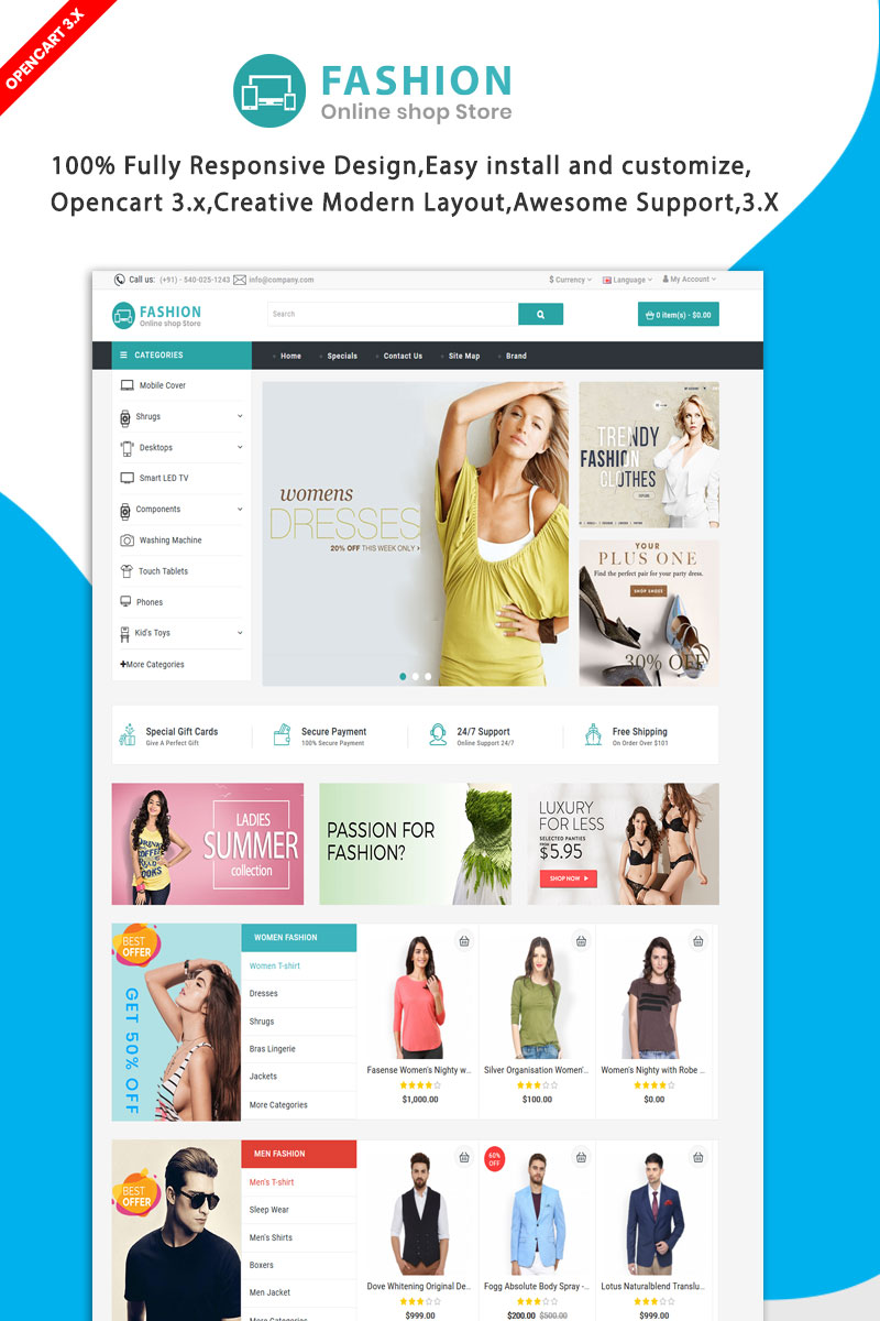 """Fashion Multipurpose"" Responsive OpenCart Template №89653"