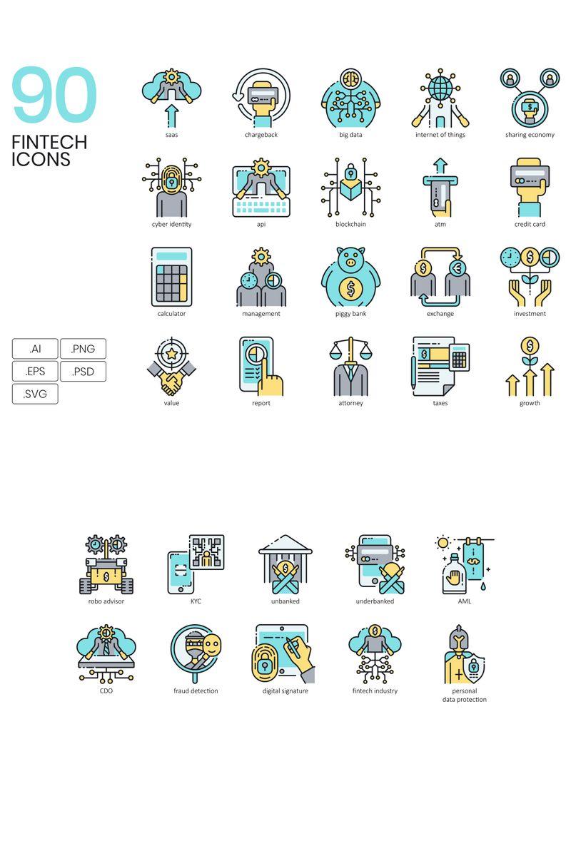 90 Fintech Icons - Aqua Series Iconset #89615