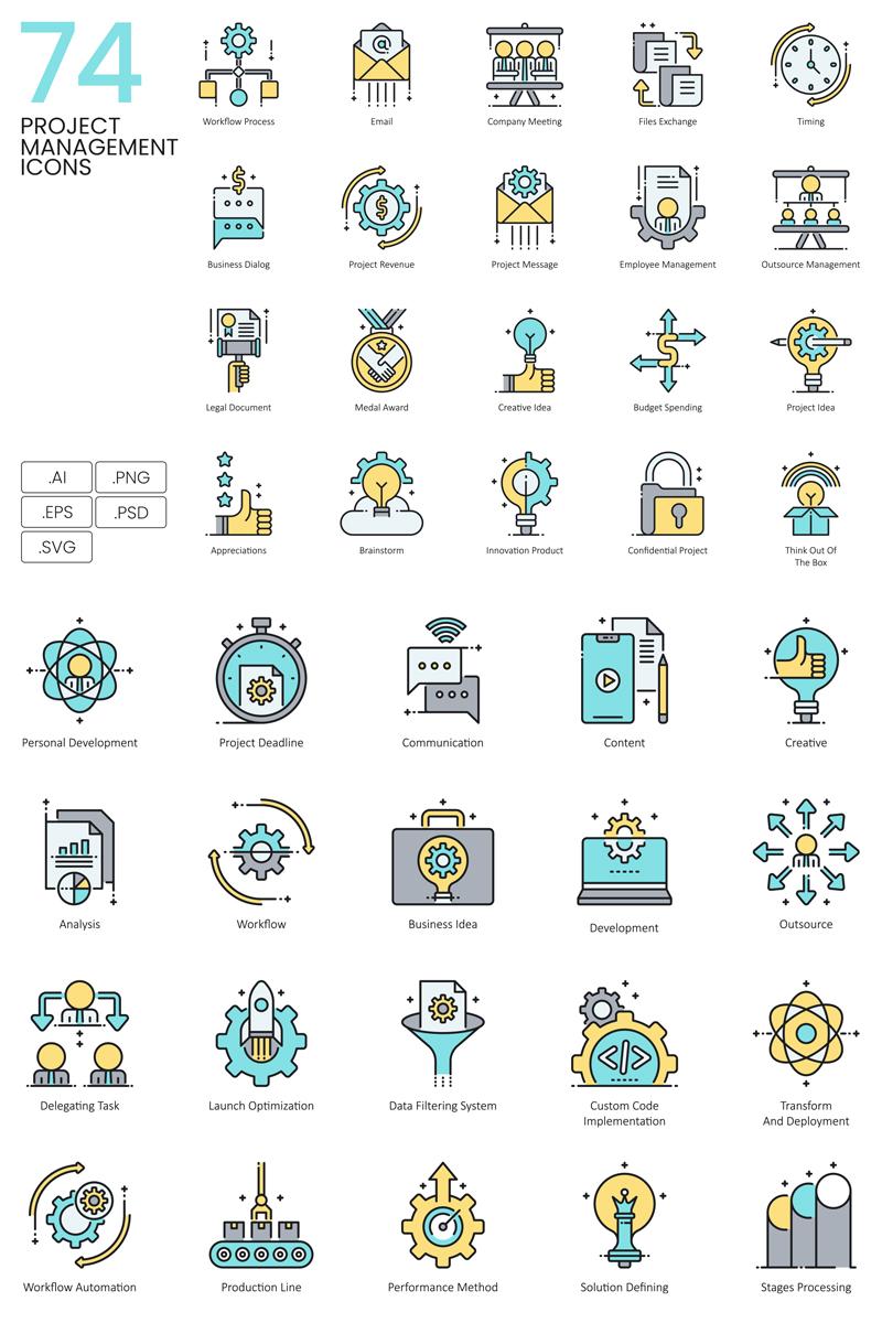 "Iconset šablona ""74 Project Management Icons - Aqua Series"" #89619"