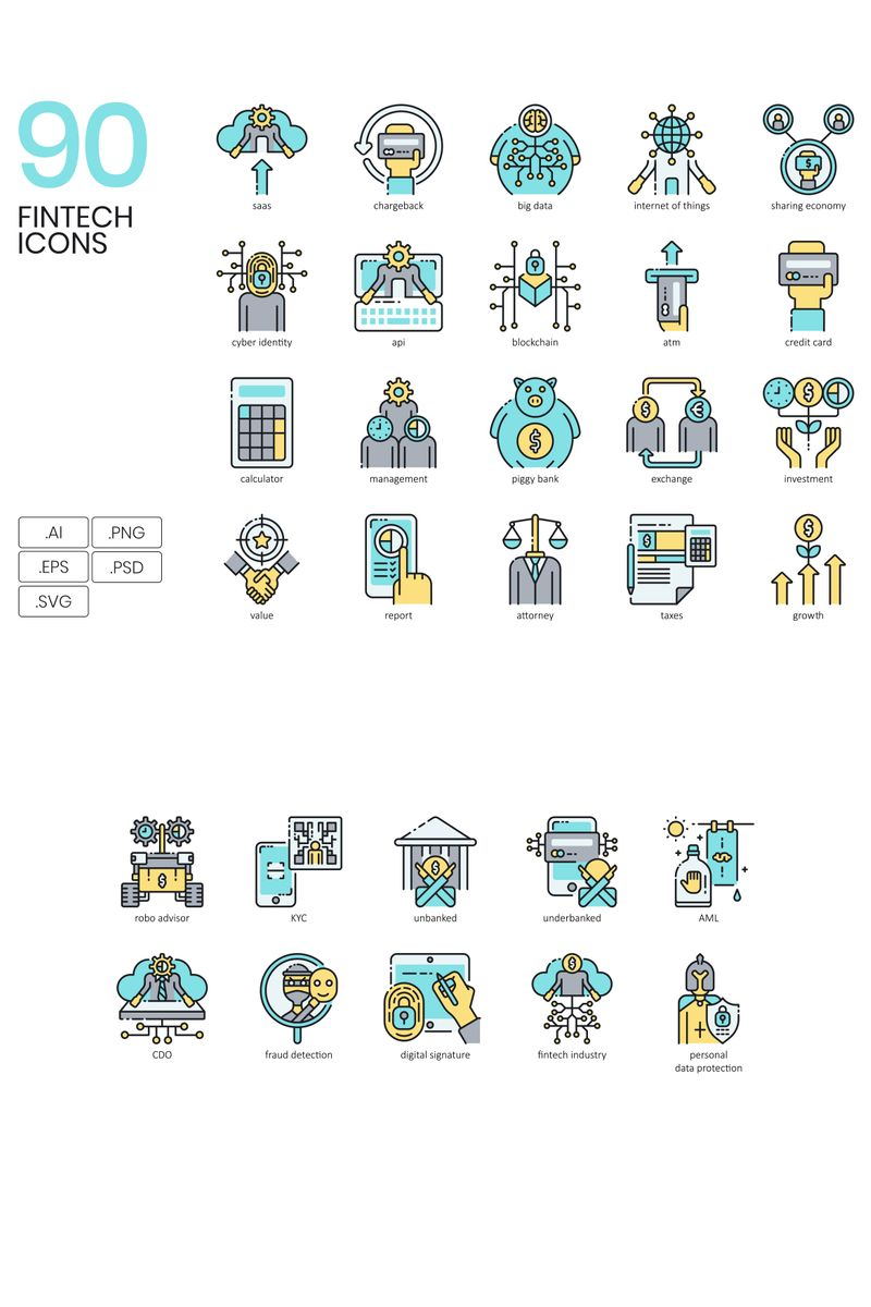 "Iconset šablona ""90 Fintech Icons - Aqua Series"" #89615"