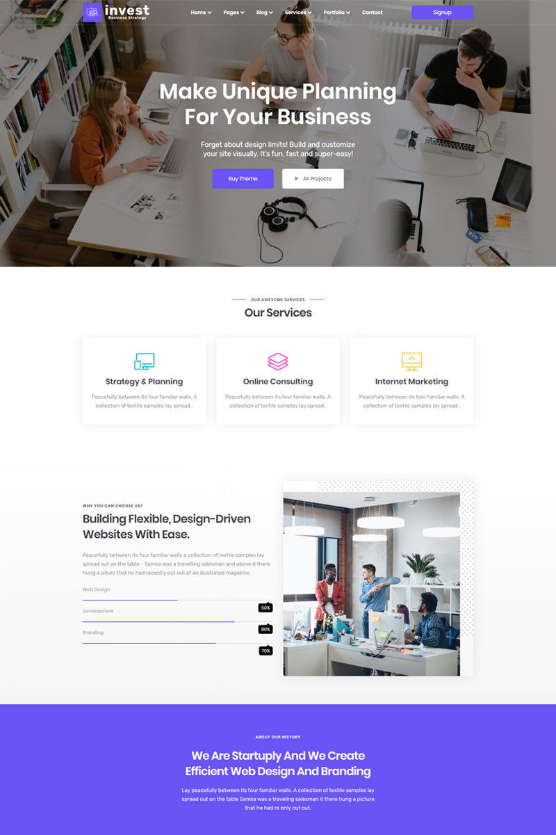 """Invest- Business & Digital Agency"" modèle  de page d'atterrissage Bootstrap #89684"