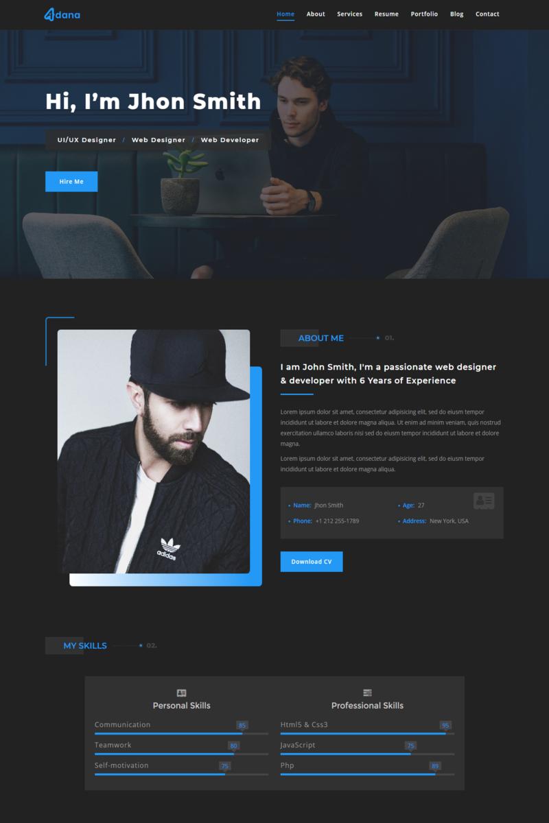 """Modello di Landing Page Responsive #89663 """"Adana - Personal Portfolio"""""""
