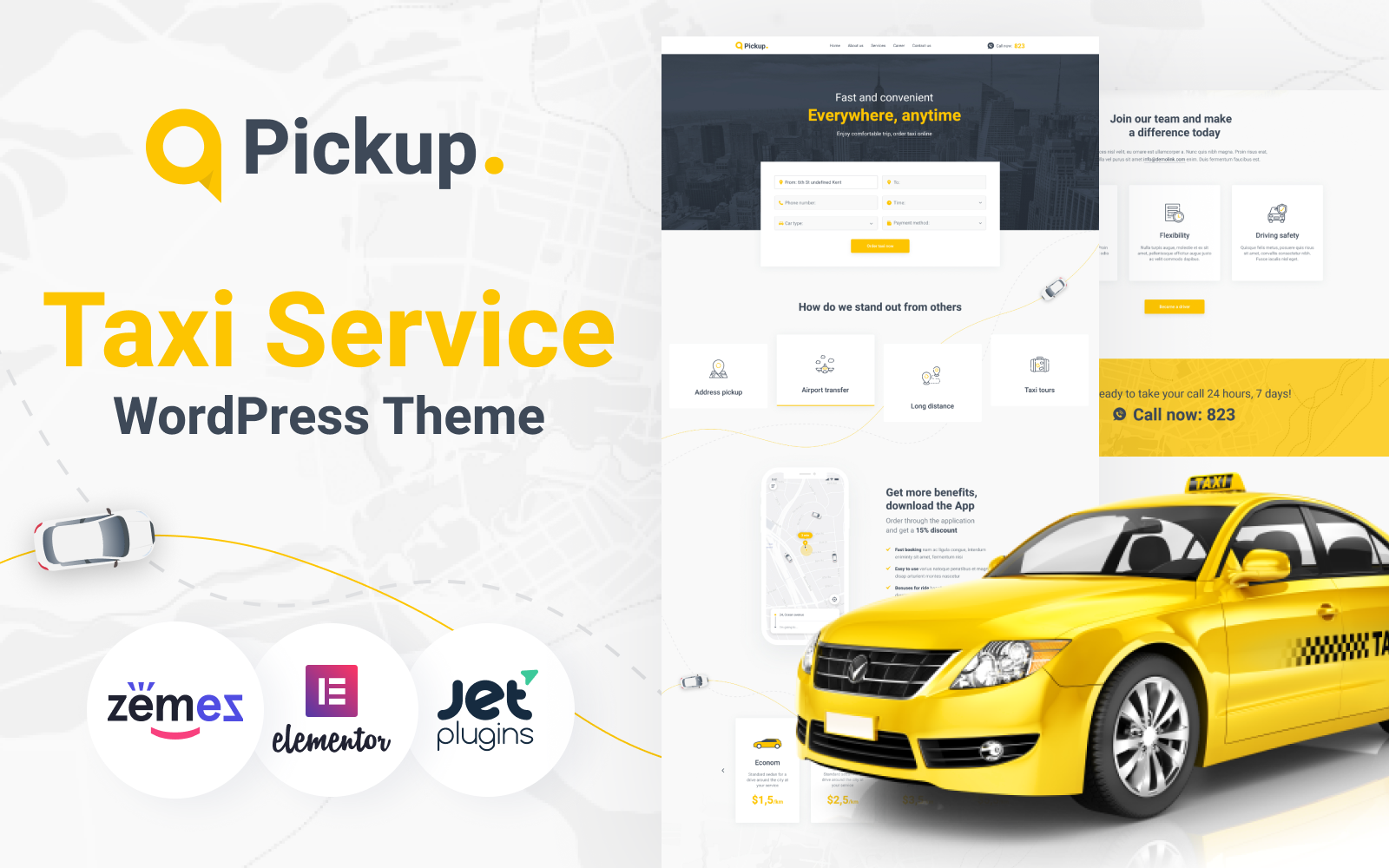 """Pickup - Fast And Reliable Taxi Service Website"" 响应式WordPress模板 #89665"