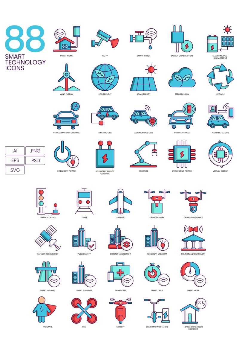 "Plantilla De Conjunto De Iconos ""88 Smart Technology Icons - Turquoise Series"" #89625"
