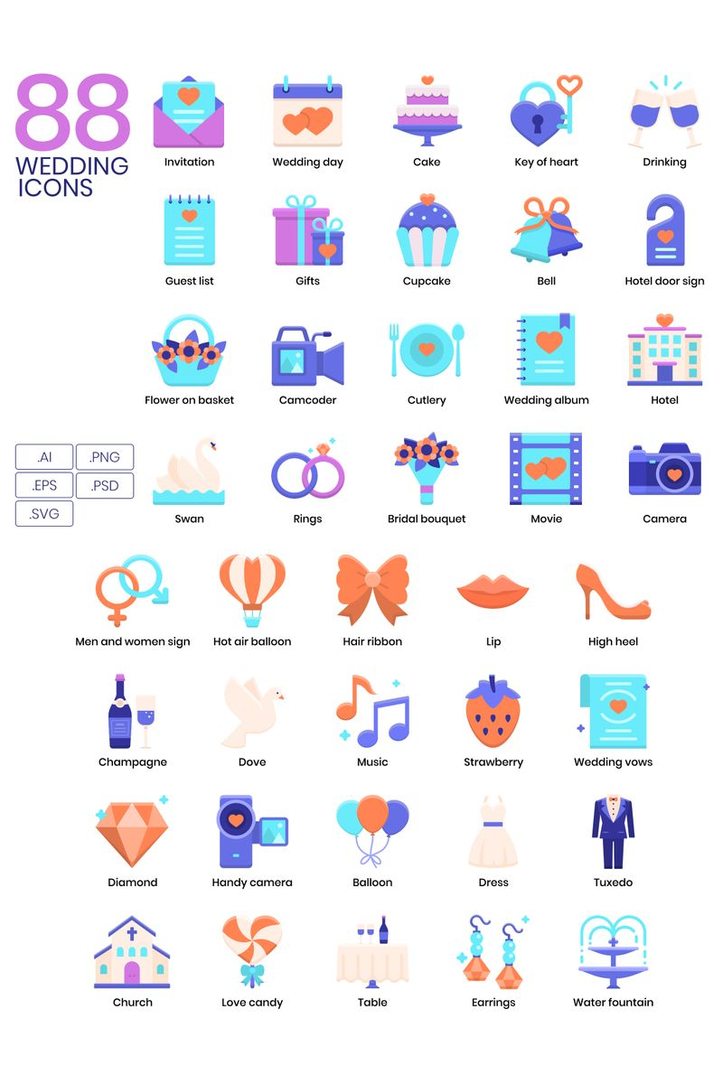 "Plantilla De Conjunto De Iconos ""88 Wedding Icons - Violet Series"" #89624"