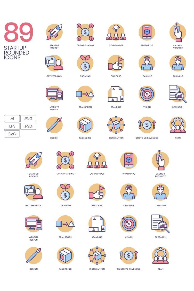"""Plantilla De Conjunto De Iconos """"89 Startup Icons - Butterscotch Series"""" #89626"""