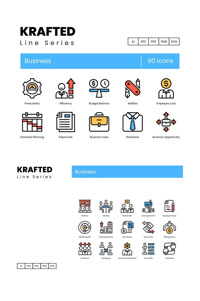 "Plantilla De Conjunto De Iconos ""90 Business Icons - Krafted Series"" #89621"