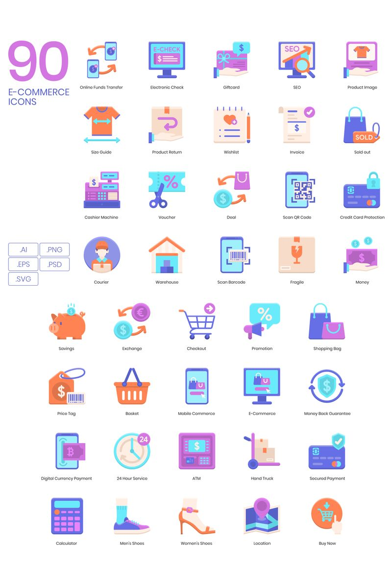 "Plantilla De Conjunto De Iconos ""90 E-commerce Icons - Violet Series"" #89617"