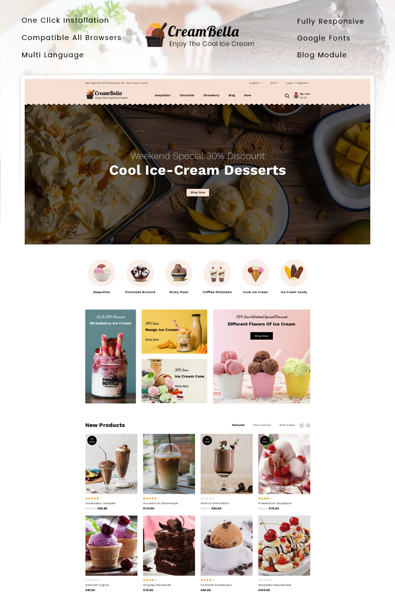 "PrestaShop Theme namens ""CreamBella - Ice Cream Shop"" #89682"