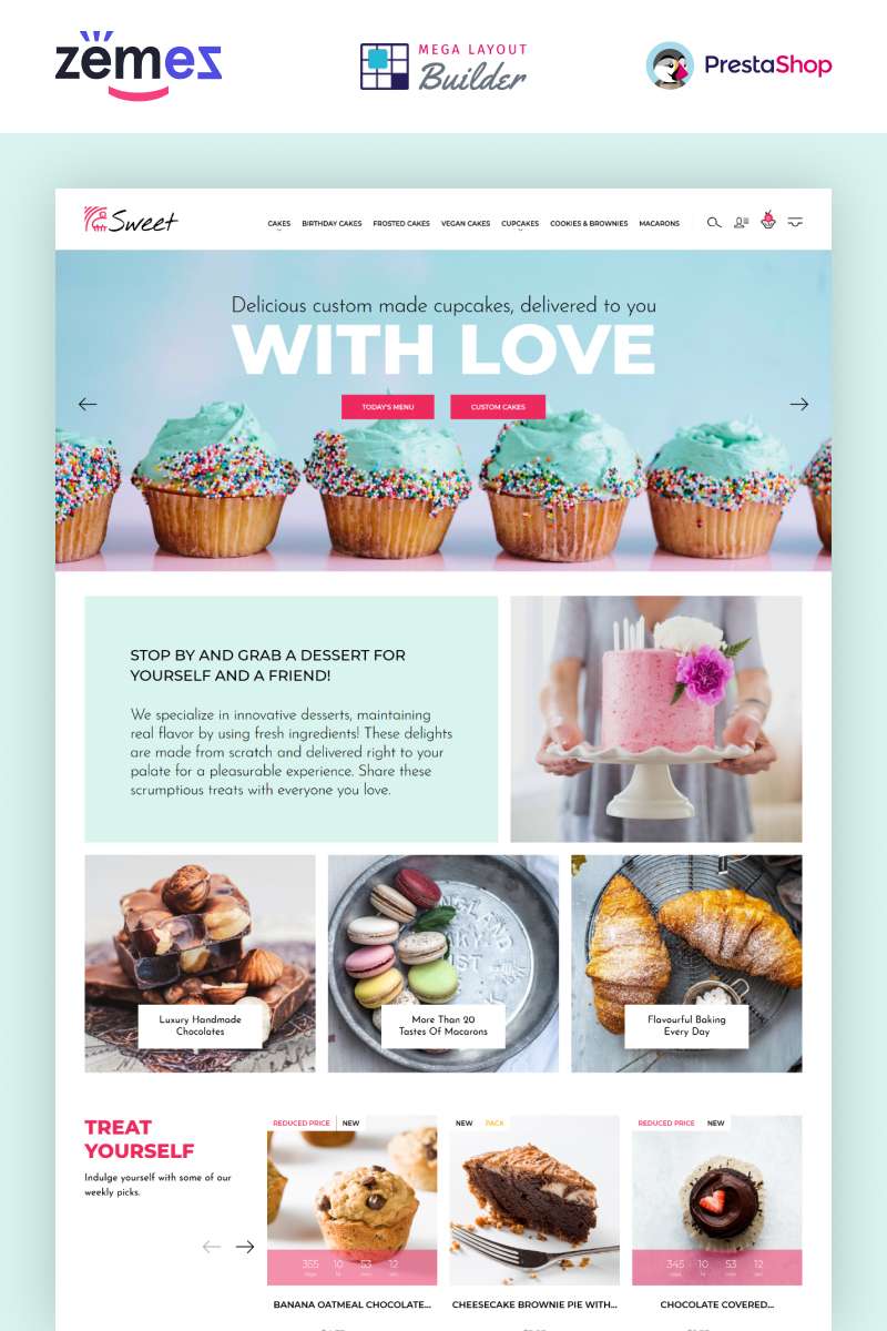 "PrestaShop Theme namens ""Sweet Dreams - Cake Shop PrestaShop Template"" #89662"