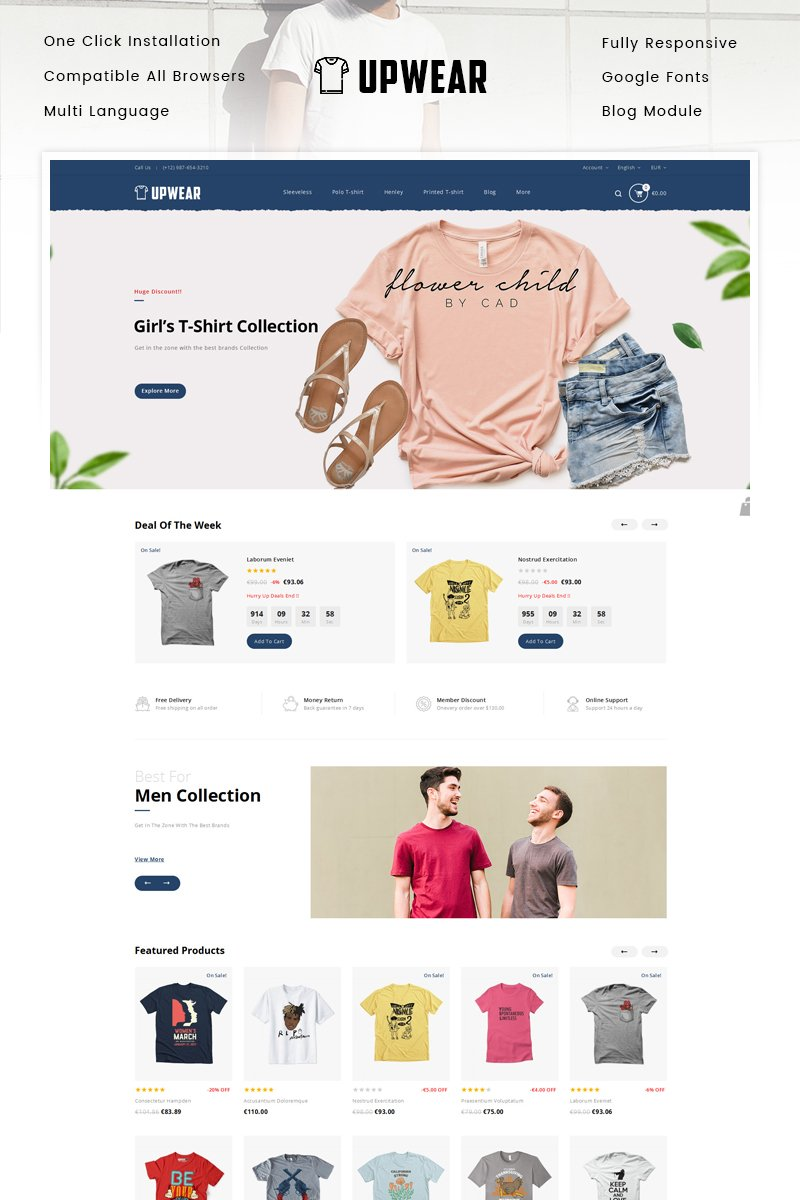 "PrestaShop Theme namens ""Upwear - TShirts Store"" #89654"