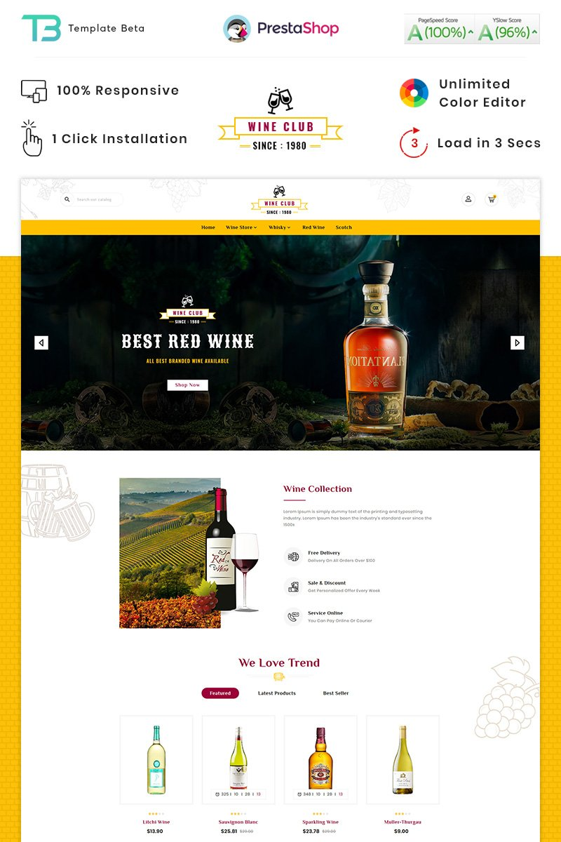 "PrestaShop Theme namens ""Wine Club - Wine Samuglar store"" #89655"