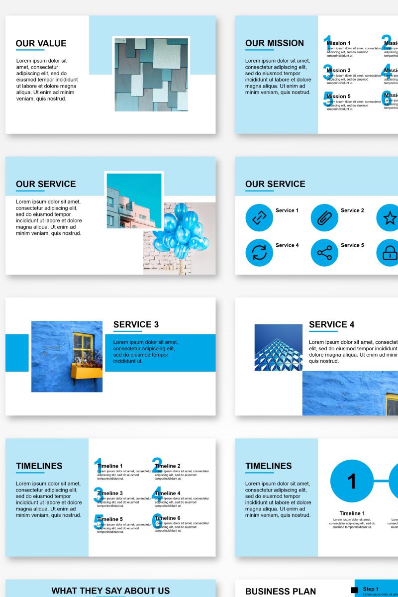 """Professional Blue Presentation"" - PowerPoint шаблон №89685"