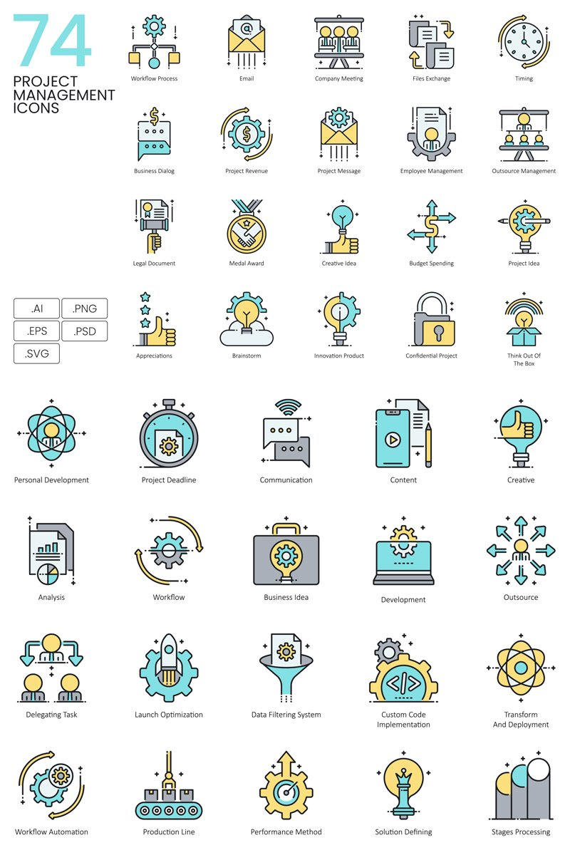 """""""74 Project Management Icons - Aqua Series"""" Iconset template №89619"""